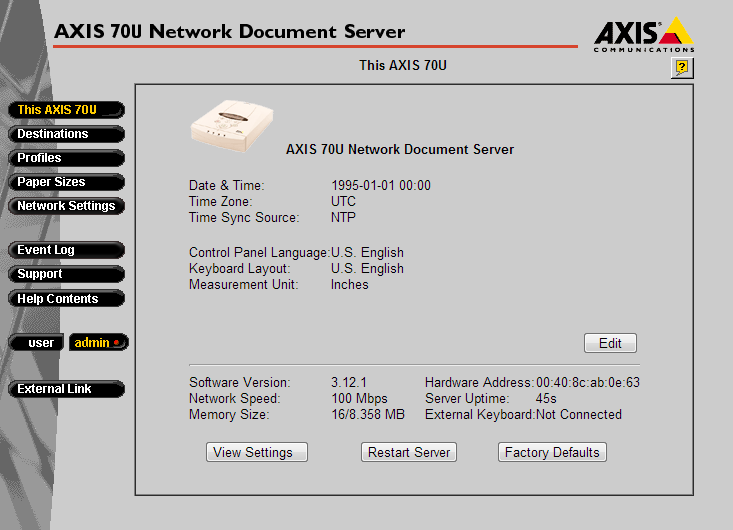 AXIS 70u Network Document Scanner – Default password