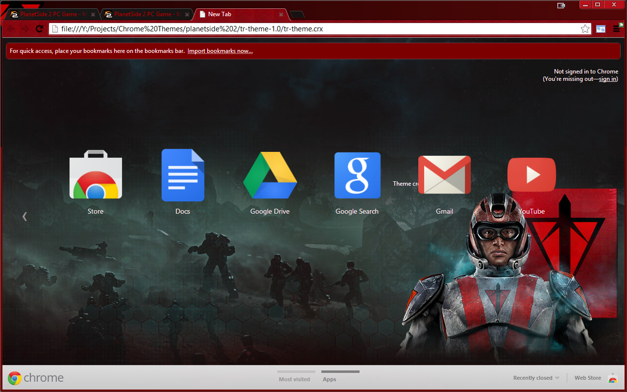 Planetside 2 Terran Republic Chrome theme update v1.1
