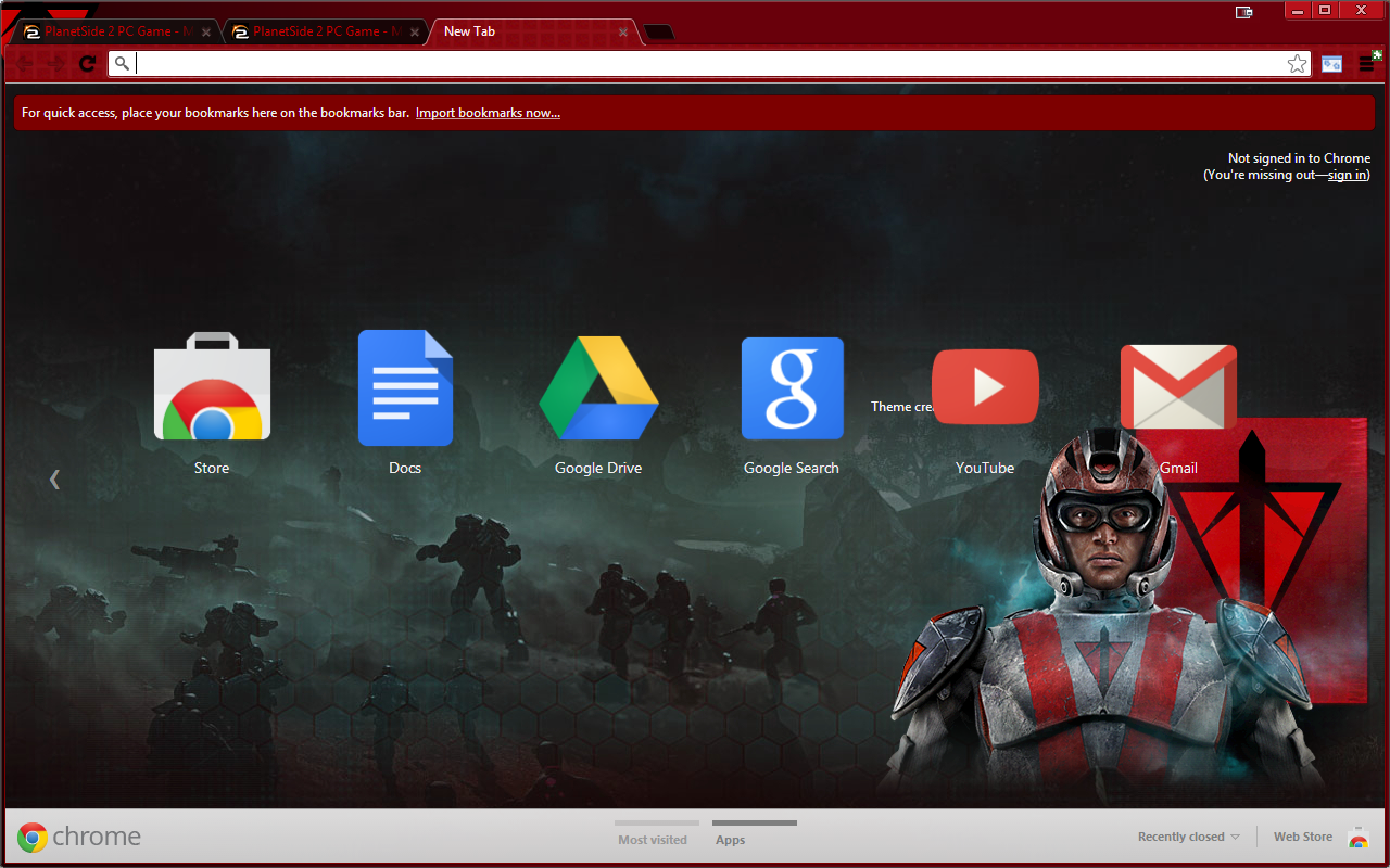 Planetside 2 Terran Republic Chrome theme update v1.2