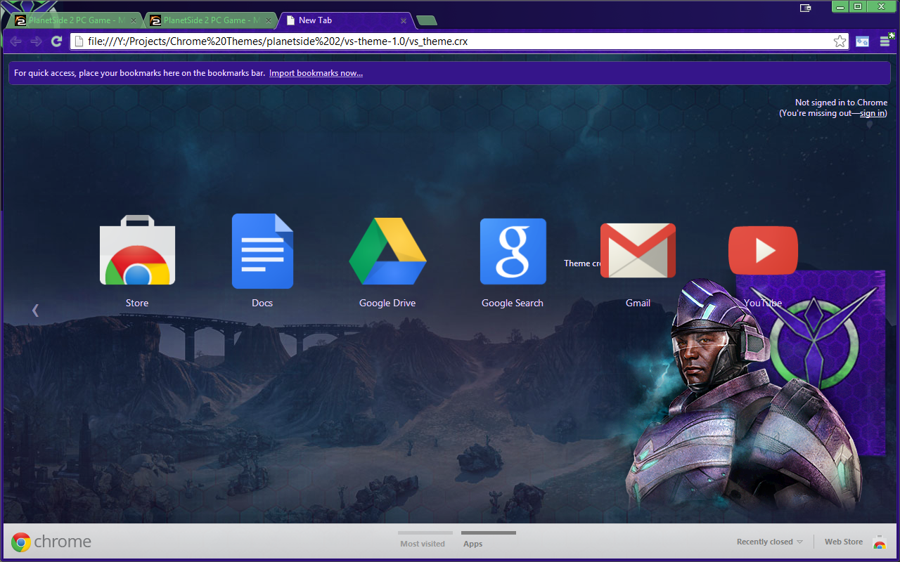 Planetside 2 Vanu Sovereignty Chrome theme update v1.1