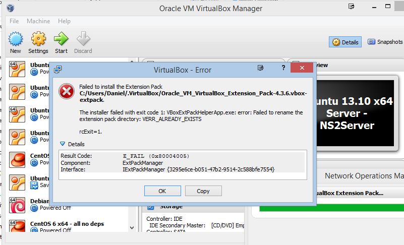 VirtualBox error VERR_ALREADY_EXISTS
