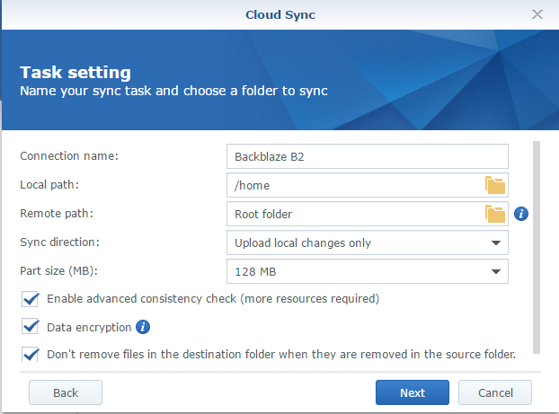 Cloud Sync - Task Setting