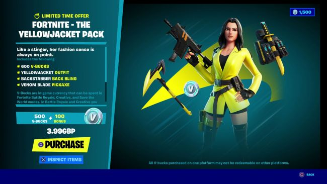 Yellow Jacket Bundle providing a cheaper way to get V-Bucks